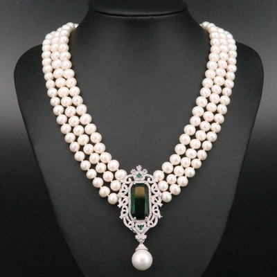 Sterling Silver Pearl and Glass Necklace