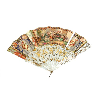 Antique Mother of Pearl and Gold Leaf Folding Fan and Félix Alexandre Fan Case