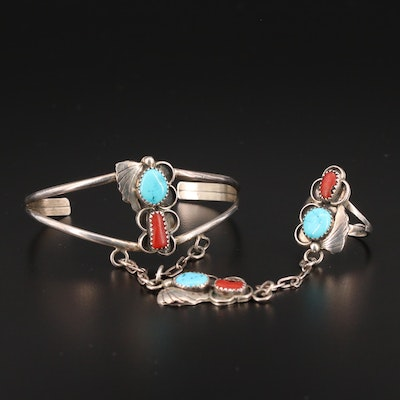 """Sterling Silver Turquoise and Coral """"Slave Bracelet"""""""