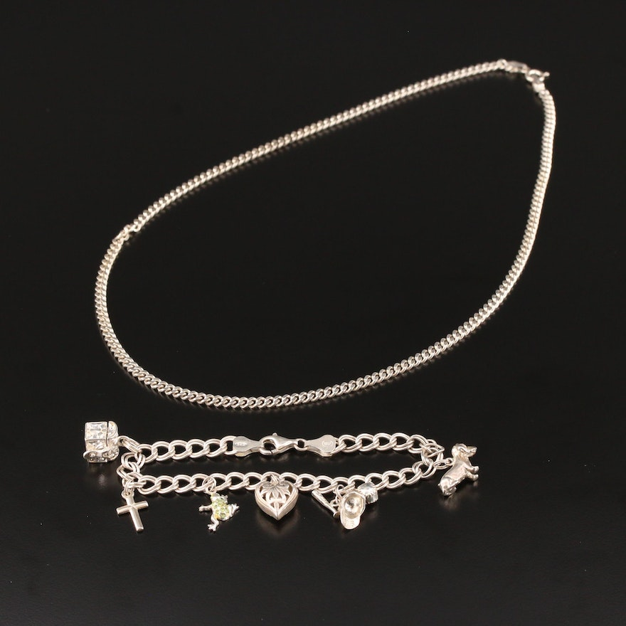 Sterling Silver Curb Chain Necklace with Double Link Charm Bracelet Translucent