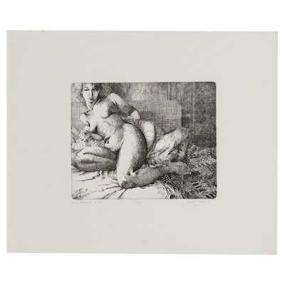 """Gilbert Gorski Etching """"Nude Woman on a Bed"""""""