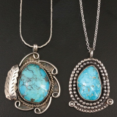 Southwestern Style Sterling Silver Turquoise Pendants with Silver Tone Chains