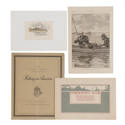 Fishing Themed Offset Lithographs after Henry Hintermeister and More
