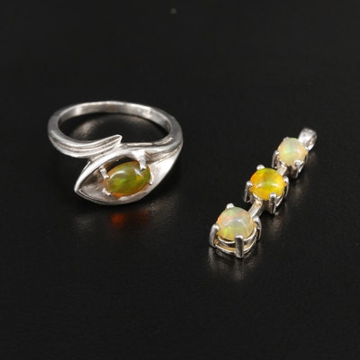 Sterling Silver Opal Ring and Pendant