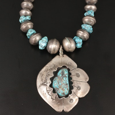 David Garcia Navajo Diné Sterling Silver and Turquoise Necklace