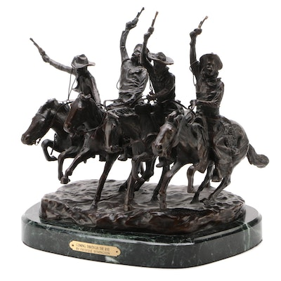 "Reproduction Frederic Remington ""Coming Through The Rye"" Bronze Sculpture"