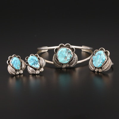 Sterling Silver Turquoise Bracelet, Earrings and Ring