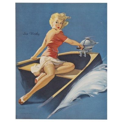 "Offset Lithograph after Gil Elvgren Pin-up Girl Illustration ""See Worthy"""