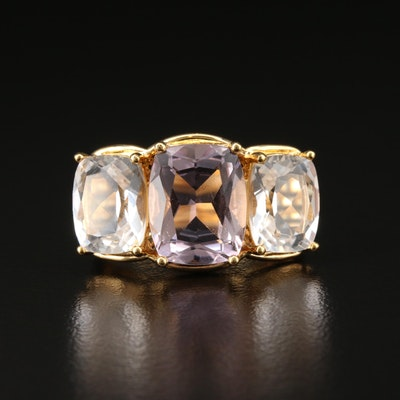 Sterling Silver Amethyst and Quartz Ring