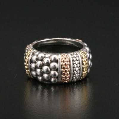 Caviar by Lagos Sterling Silver Ring with 18K Yellow and Rose Gold Accents