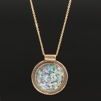 14K Yellow Gold and Sterling Silver Roman Glass Pendant Necklace