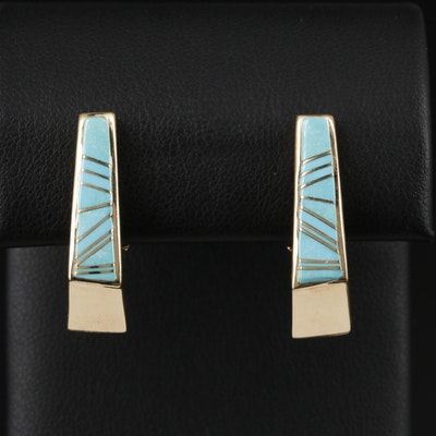Southwestern Style 14K Yellow Gold Turquoise Inlay Earrings