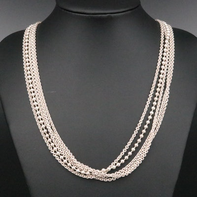 Caviar by Lagos Sterling Multi-Strand Necklace with 18K Yellow Gold Accents