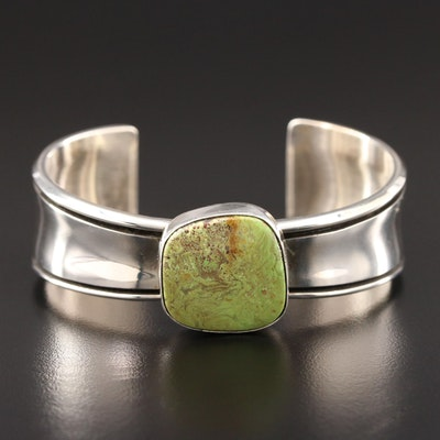 Southwestern Style Sterling Silver Gaspeite Cuff Bracelet