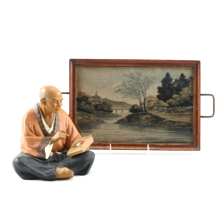 East Asian Painted Silk Tea Tray and Chalkware Figurine of Man