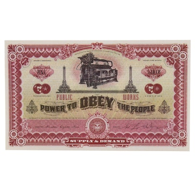 """Shepard Fairey Double-Sided Offset Print """"2 Sides of Capitalism"""""""