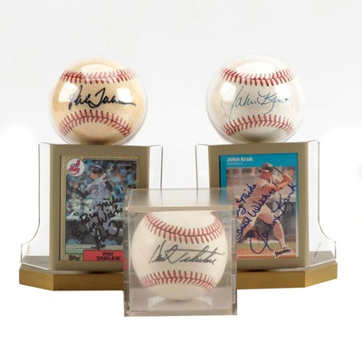 Kruk, Tekulve and Tabler Signed Baseballs with Signed Kruk and Tabler Cards  COA
