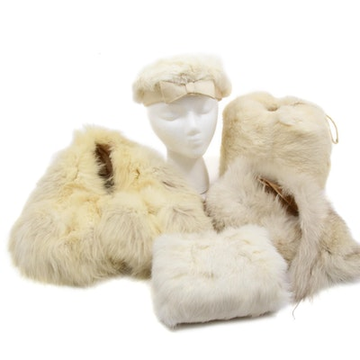 Rabbit Fur Hat and Muffs with Fox Fur Collars, Vintage