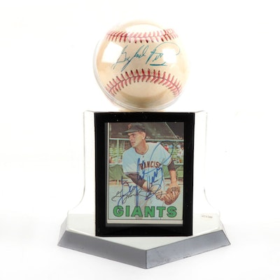 Gaylord Perry Signed National League Baseball with Signed Topps Card   COA