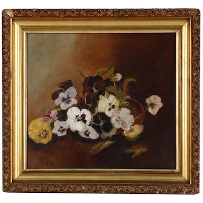 Floral Still Life Oil Painting of Pansies, Late 19th Century