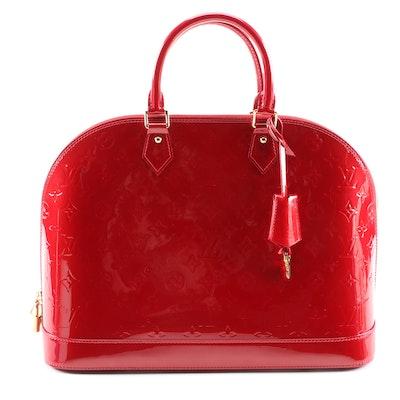Louis Vuitton Alma GM Handbag in Pomme D'amour Monogram Vernis Leather