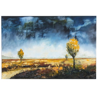 Farshad Lanjani Rural Field Landscape Oil Painting