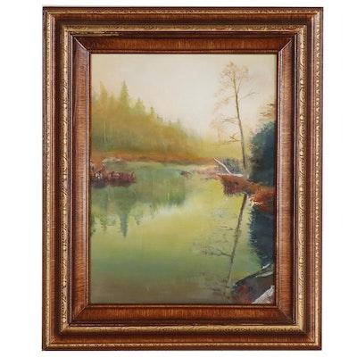 """Landscape Oil Painting """"Dodge Pond Roadside"""""""