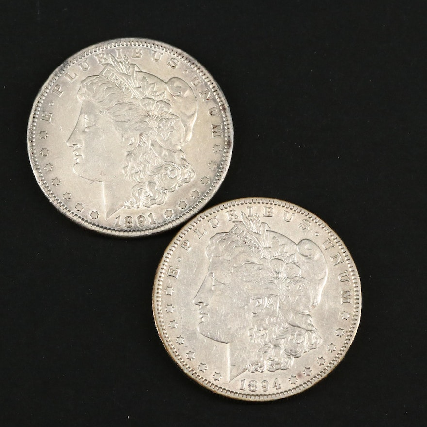 1891 and Better Date 1894-O Morgan Silver Dollars