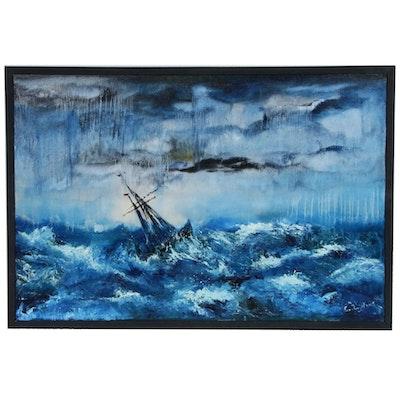 Farshad Lanjani Stormy Sea Oil Painting, 2015