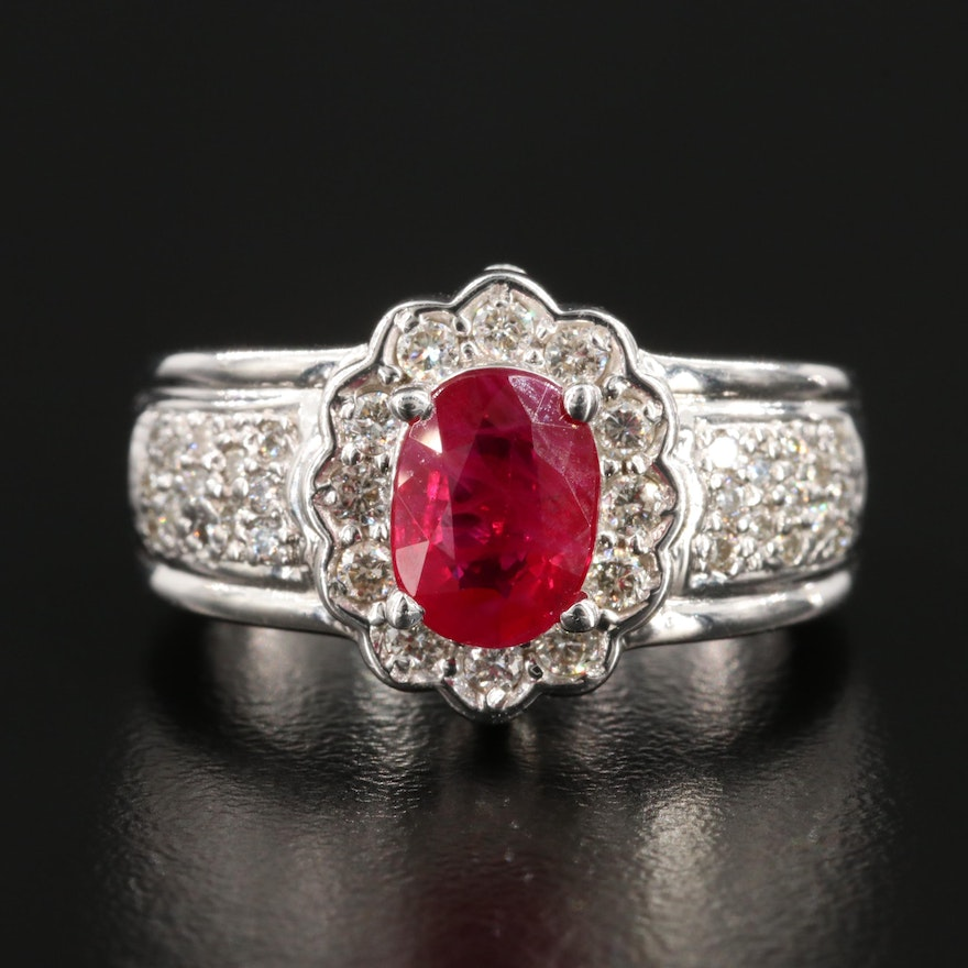 14K White Gold 1.42 CT Ruby and Diamond Ring