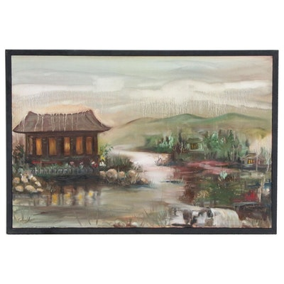 "Farshad Lanjani Landscape Oil Painting ""Asian Concept,"" 2010"