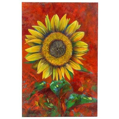 """Farshad Lanjani Oil Painting """"Sunflower,"""" 2019"""