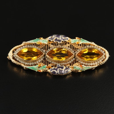 Art Nouveau Ostby & Barton 14K Yellow Gold Enamel, Pearl and Glass Brooch