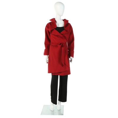 Susan Lucci Red Fleece Wrap Coat and Black Knit Pant Set Signed by Susan Lucci