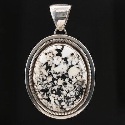 Southwestern Wydell Billie Sterling Silver Buffalo Stone Pendant