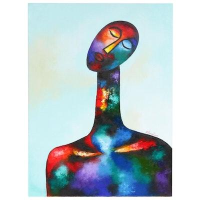 "Oluwakemi Omowaire Oil Painting ""Serenity,"" 2019"