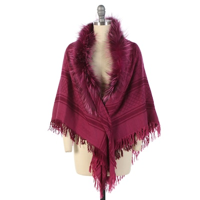 Gucci GG and Diamante Pattern Shawl in Magenta Wool Silk with Dyed Fox Fur Trim