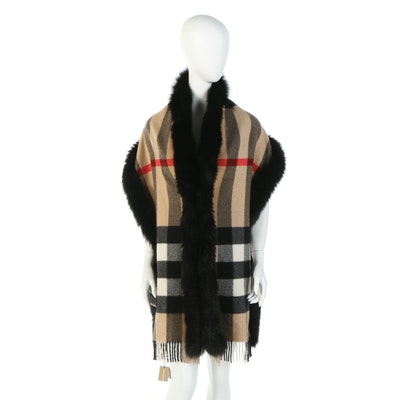 "Burberry Fox Fur Trim ""Mega Check"" Cashmere Scarf with Susan Lucci Signed Box"
