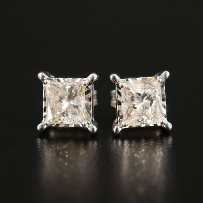 10K and 14K White Gold 1.20 CTW Diamond Stud Earrings
