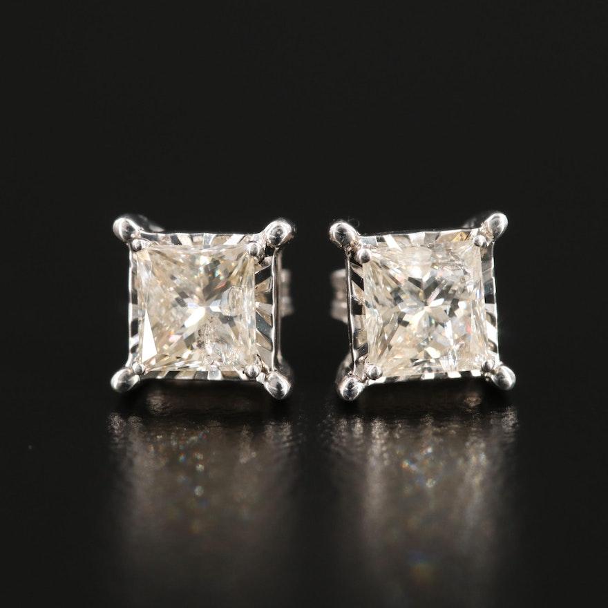 10K and 14K White Gold 1.20 CTW Diamond Stud Earrings