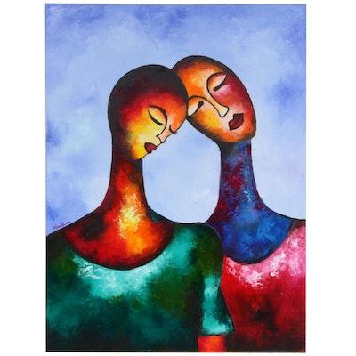 "Oluwakemi Omowaire Oil Painting ""Lean on Me,"" 2019"