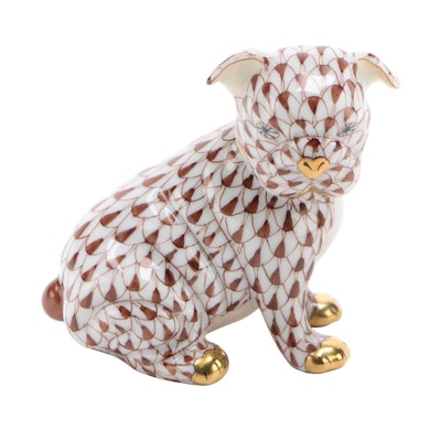 "Herend Chocolate Fishnet with Gold ""Bulldog Puppy"" Porcelain Figurine"