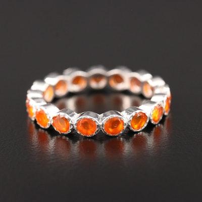 Sterling Silver Fire Opal Eternity Ring