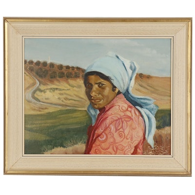 Portrait Oil Painting of Woman in Fields