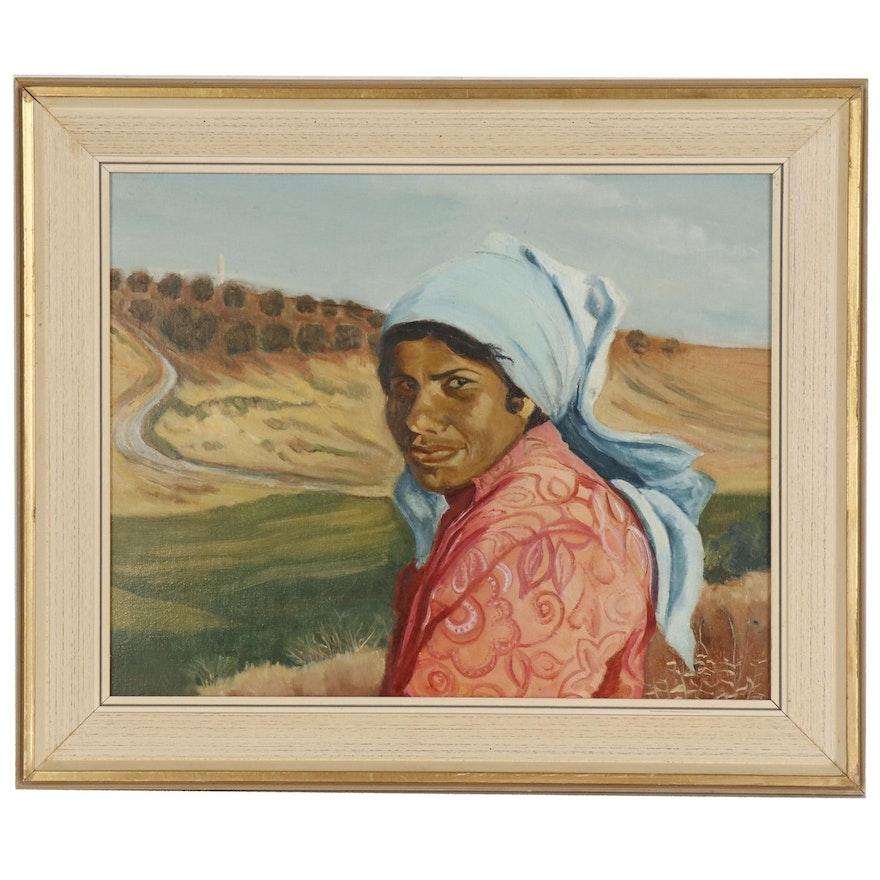 Portrait Oil Painting of Woman in Fields