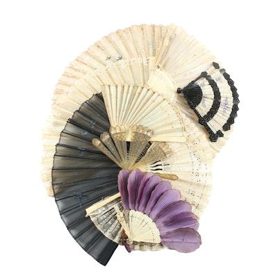 Antique Folding Hand Fans Including Brisé and Hand-Painted Fans