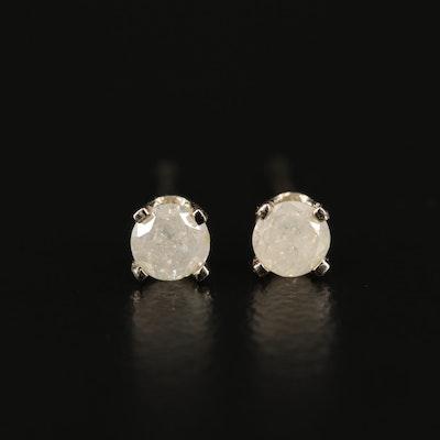 14K White Gold Diamond Solitaire Earrings