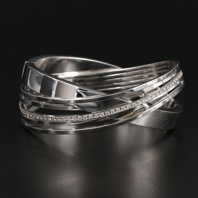 Pesavento 18K White Gold Diamond Hinged Bracelet