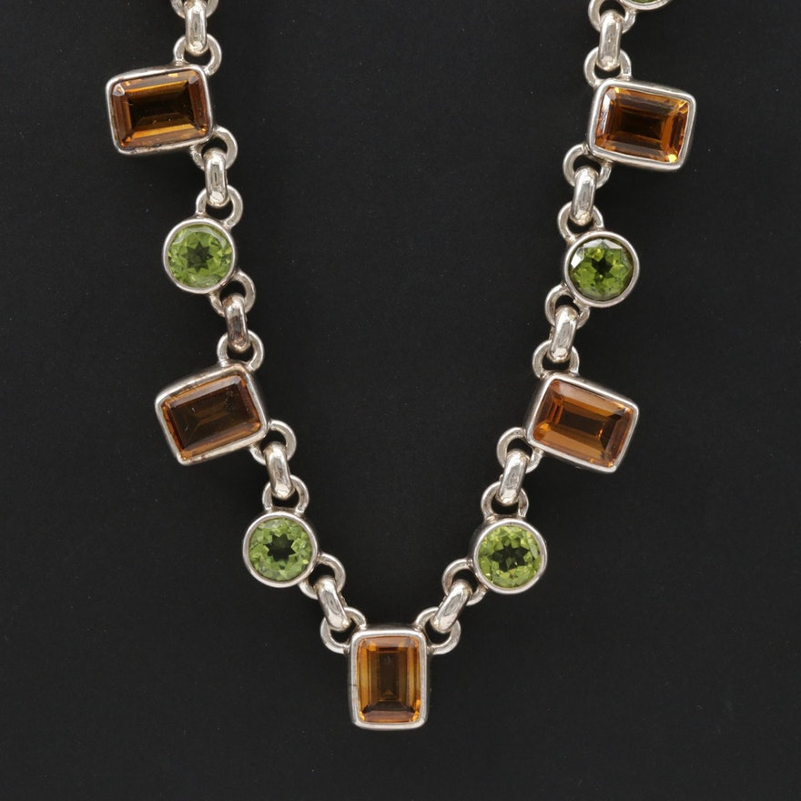 Sterling Silver Citrine and Peridot Necklace
