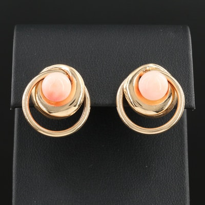 14K Yellow Gold Coral Earrings with 14K Gold Jackets